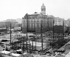 The Old Post Office predates most of the buildings in the Federal Triangle and is thus visible in many of the 1930s construction photos.