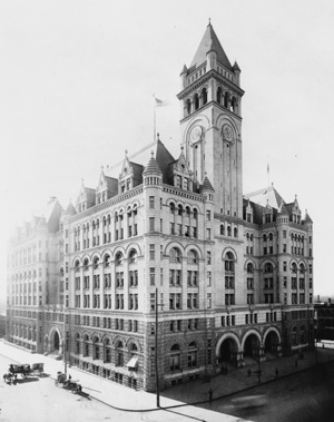 Historic photograph of the Old Post Office, facing Pennsylvannia Avenue.