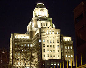 The project for the U.S. Custom House in Philadelphia included restoration of  the exterior of the building, including installation of new energy efficient windows.