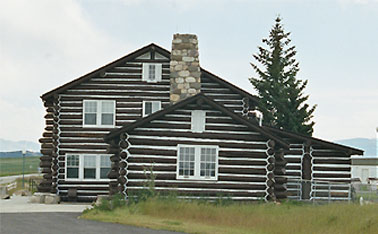 Piegan U.S. Border Station, Babb MT. It is built in a log cabin architectural style.
