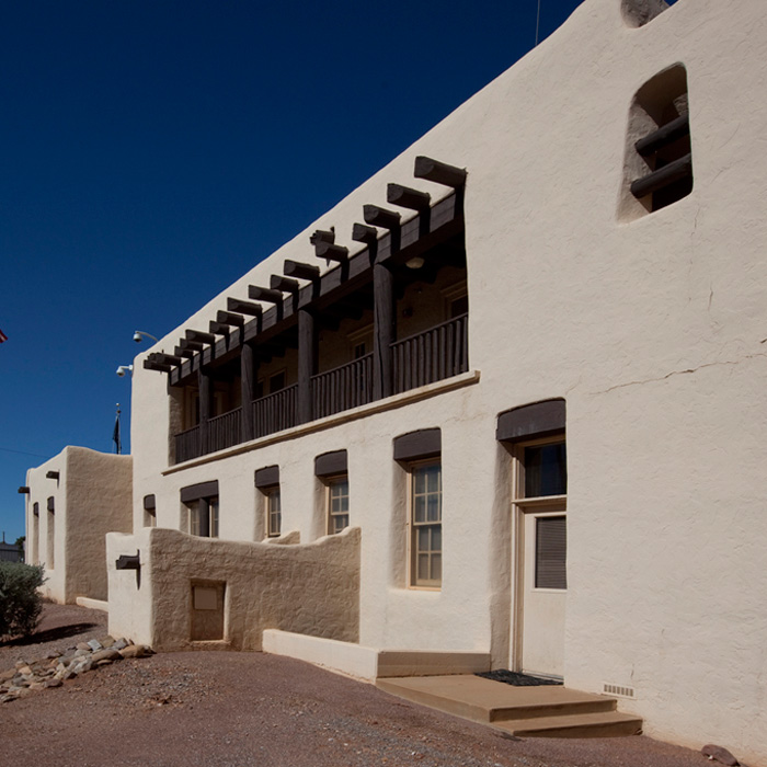 Exterior, US Border Inspection Station, Naco AZ. An example of Pueblo/Spanish Revival style architecture.