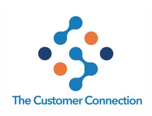 Designed graphic with nine colored circles, some linked, forming a diamond and the words The Customer Connection below.