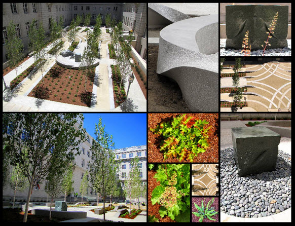 Photos of the courtyard at the 50 United Nations Plaza building in San Francisco.