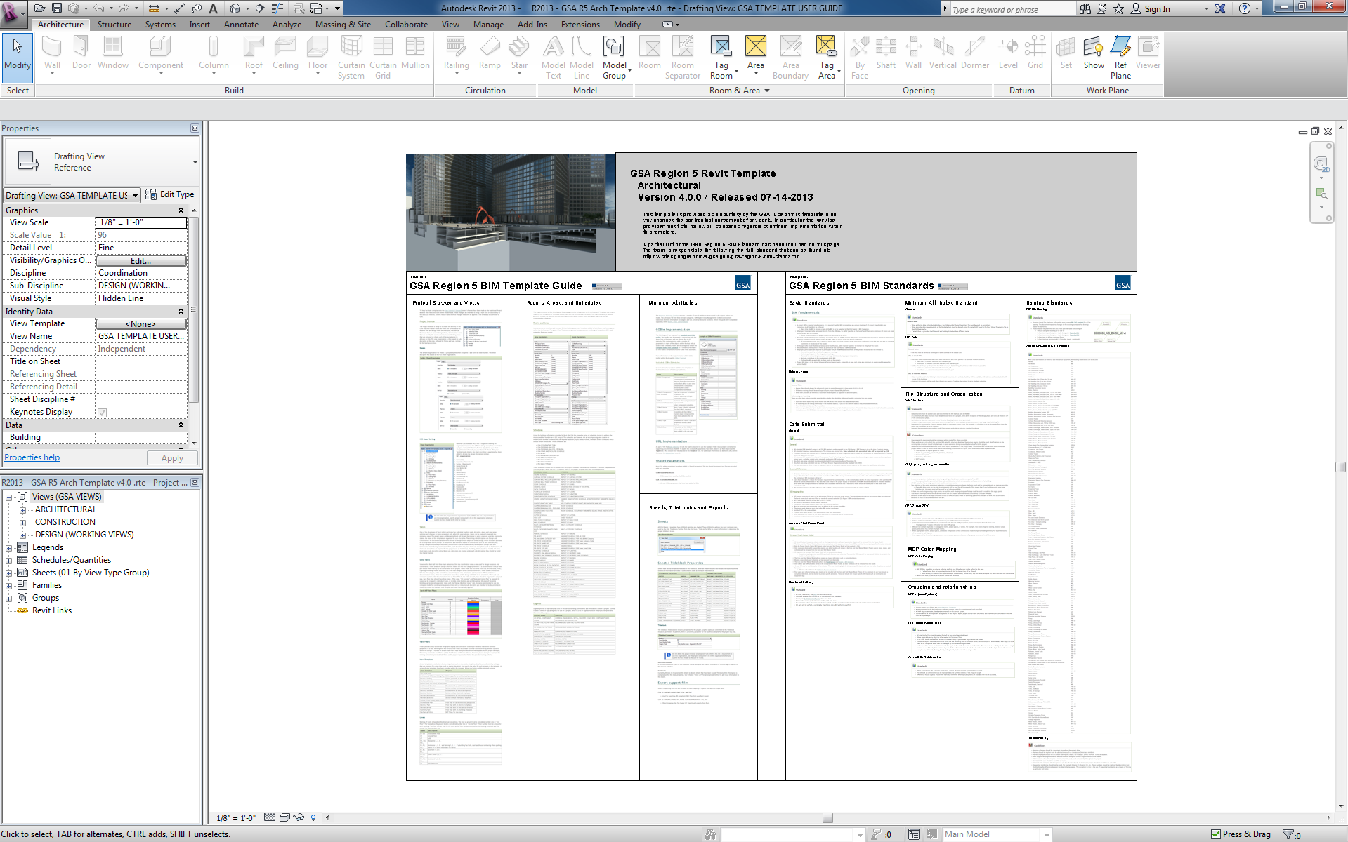 Screenshot of an architectural template in Revit