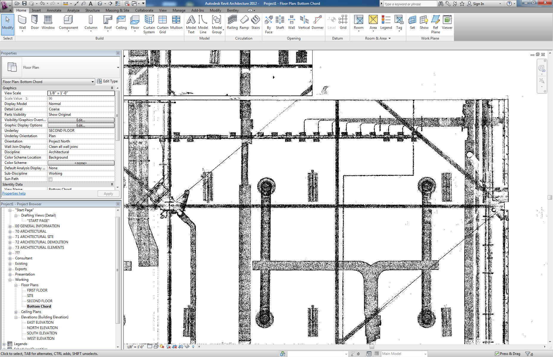 Screenshot of a model developed from point clouds in Revit