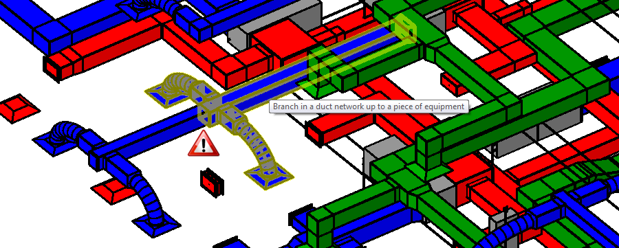 Graphic showing a faulty image of a duct system in Revit