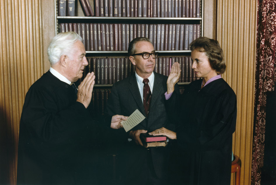 Sandra Day O'Connor being sworn in to the Supreme Court