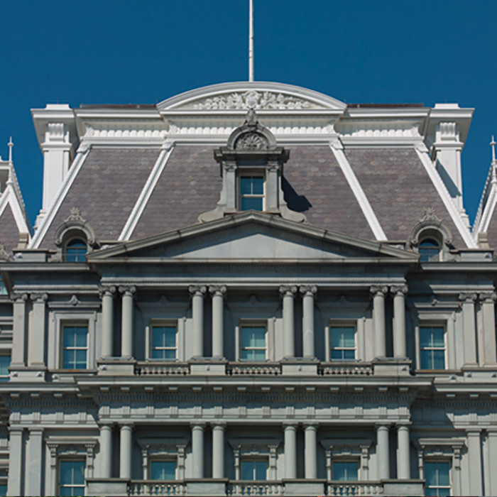 Exterior, Dwight D. Eisenhower Executive Office Building, Washington, DC. An example of Second Empire style architecture.