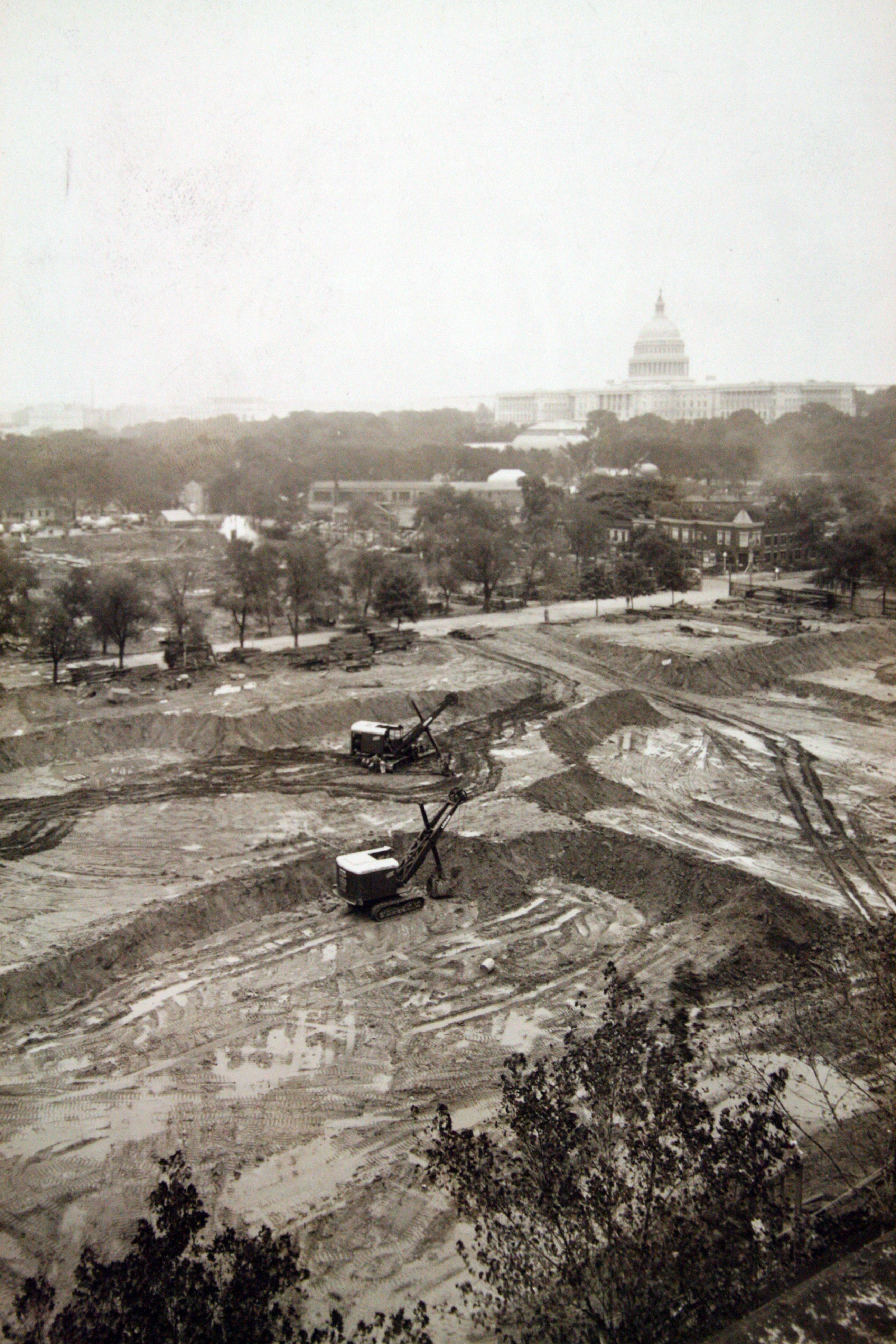 Clearing  the site for construction of the Switzer building, c. 1939.