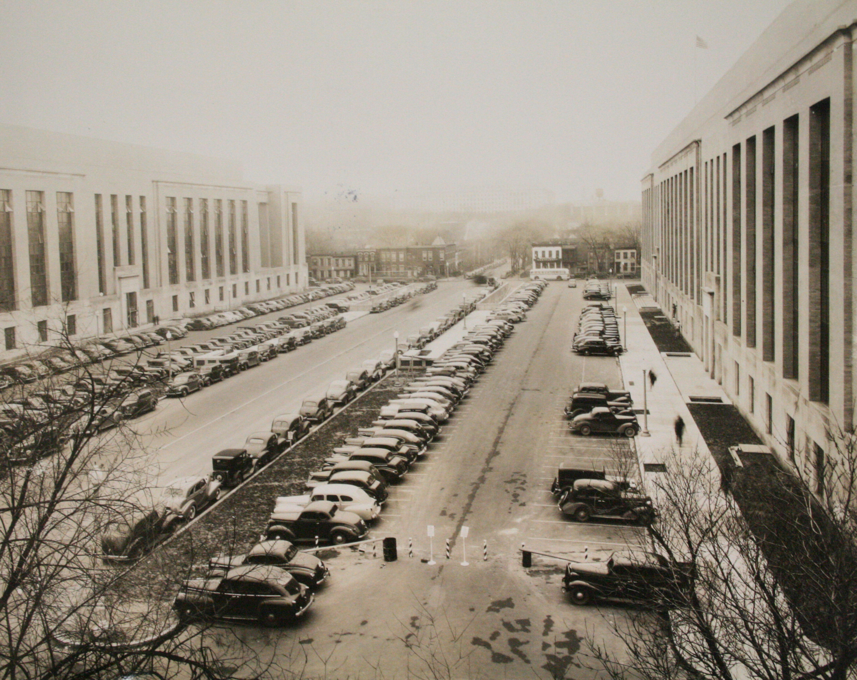 Surface parking spaces along the C Street facade, c. 1939.