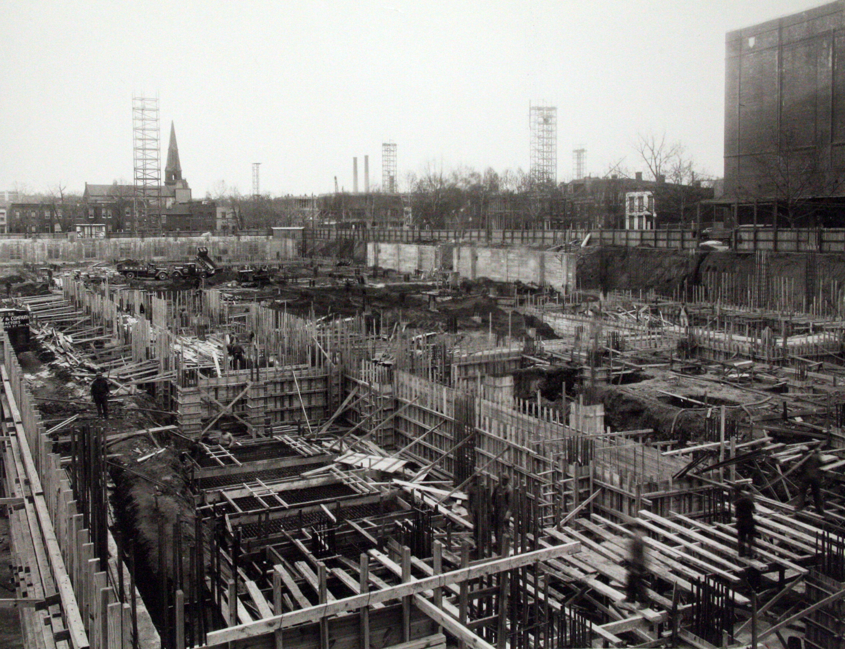 Framing the first floor, c. 1939.