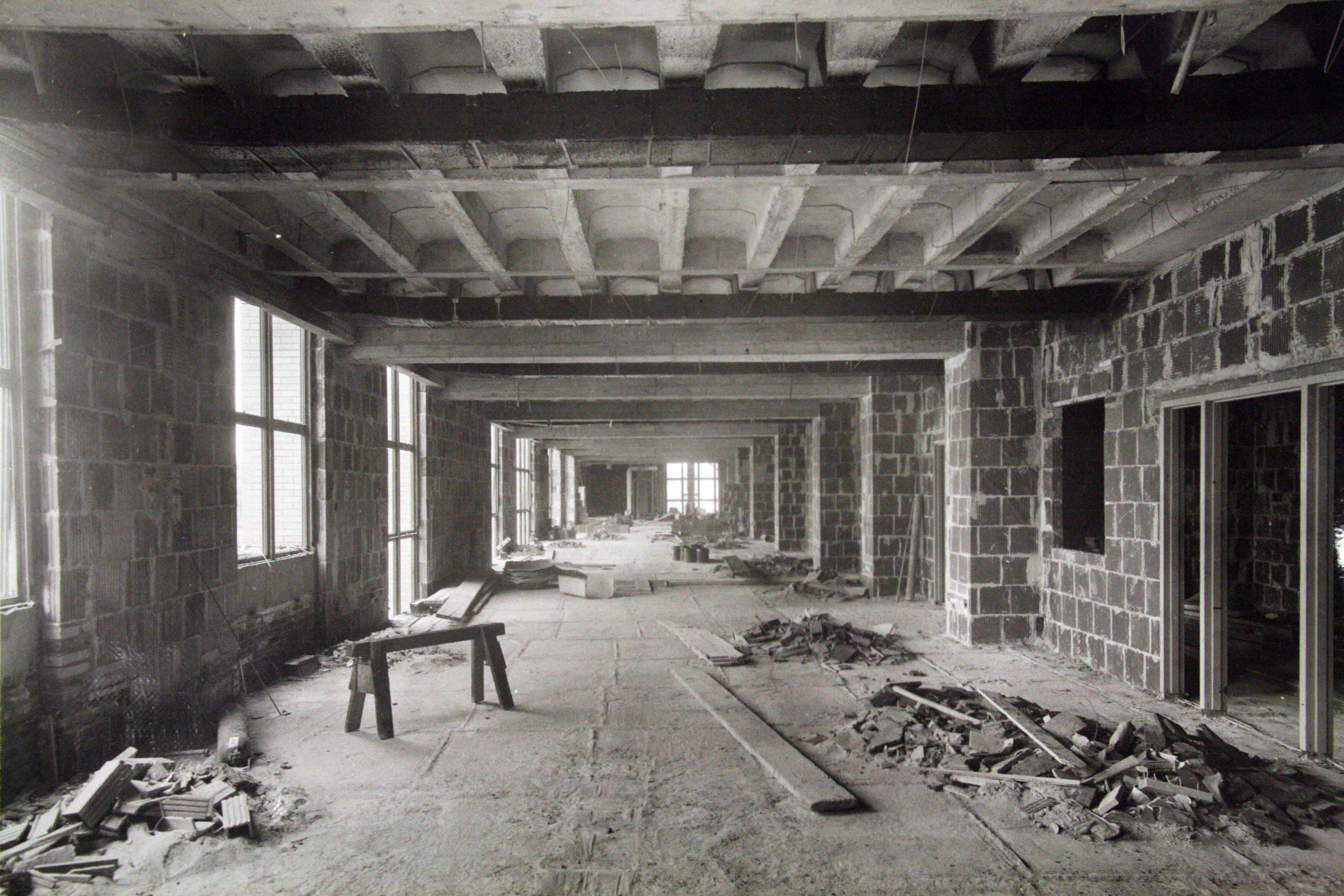 The first floor lobby, under construction, c. 1939.