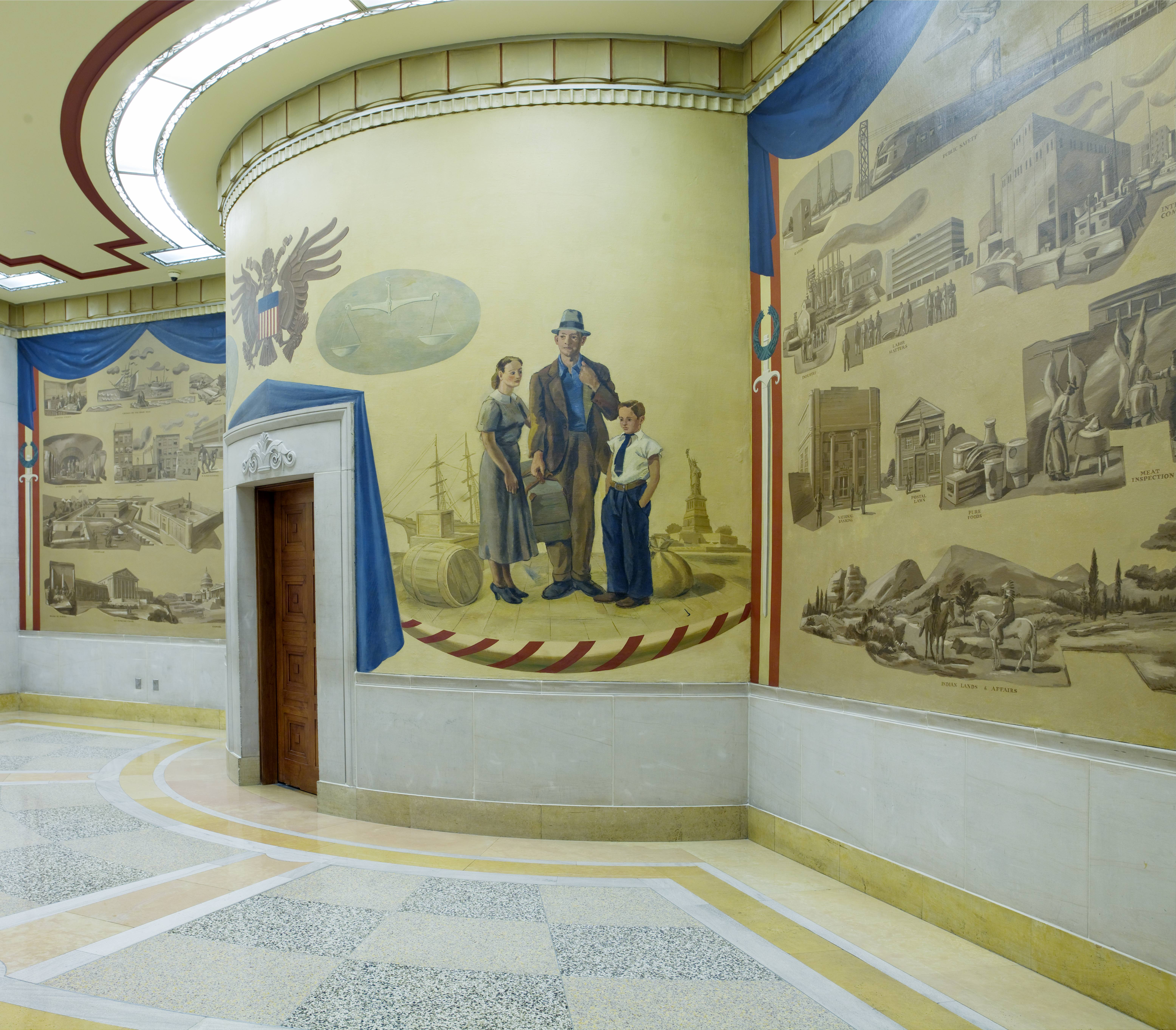 Murals added under the New Deal art programs decorate the ceremonial entrance to the Attorney General's suite.
