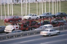 Cars on a transporter