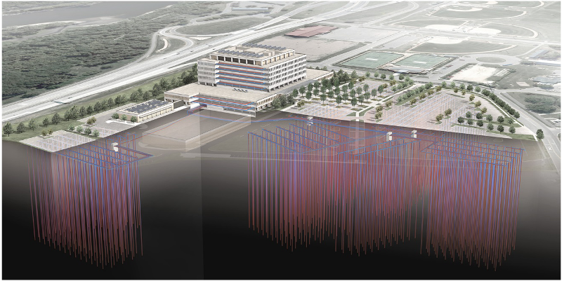 Large illustration of Whipple Federal Building's geothermal ground-source heat-pump system.