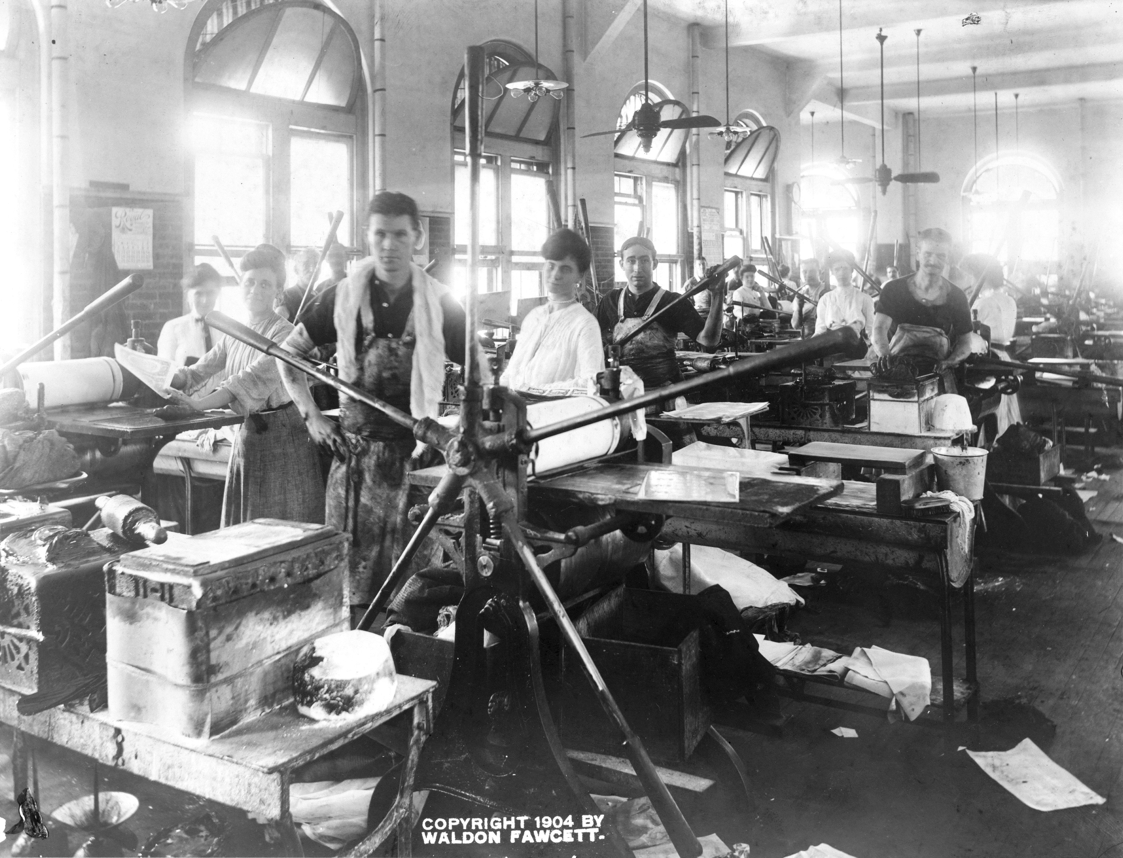 Employees at Printing Presses, Waldon Fawcett, c. 1904.