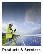 Man in yellow jacket and hard hat next to solar panels with text Products & Services