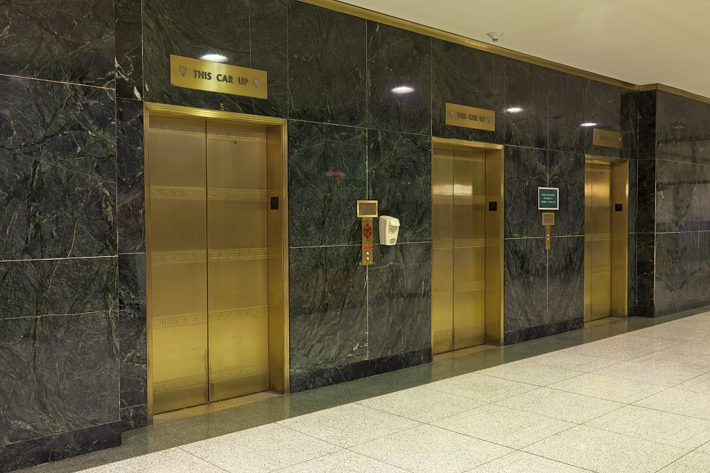 Lobby elevators at the Wilbur J. Cohen Federal Building, Washington, DC.