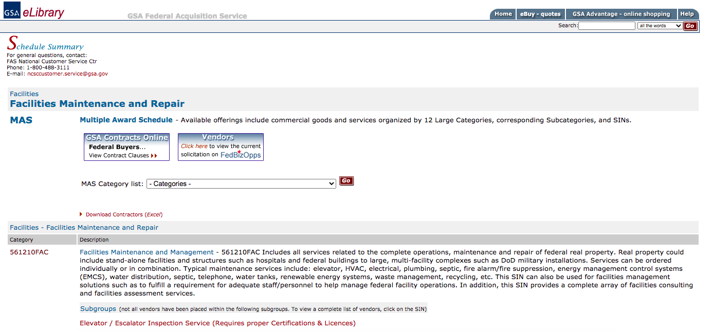 Screenshot of eLibrary Schedule solicitation showing specialty Item number (SIN) breakdown