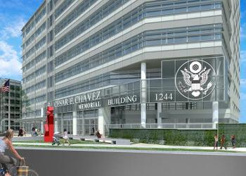 Rendering of rennovation at the Cesar Chavez Federal Building