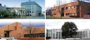 From left, going clockwise, The Harold D. Donohue Federal Office Building and Courthouse in Worcester, the Silvio O' Conte Federal Building in Pittsfield, the Philbin Federal Building in Fitchburg and the  Springfield U.S. Courthouse in Springfield.
