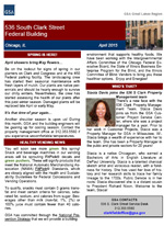 Front page of the April 2015 Clark Street Federal Building newsletter