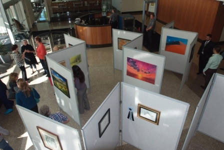 Overview of art display in the building's main lobby area