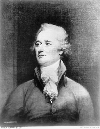 Portrait of Alexander Hamilton, painted by John Trumball; painting is located at the Yale School of Art