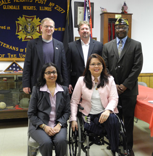 Photo of GSA Regional Administrator Ann Kalayil, Congresswoman Tammy Duckworth, and three members of the Glendale Hts., Illinois, VFW