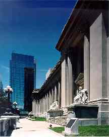 Exterior of Bayh Courthouse with Massey Rhind sculptures, Indianapolis