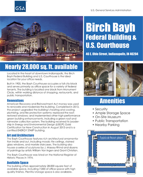 Thumbnail of Birch Bayh Leasing flyer with featuring exterior night shot of the building