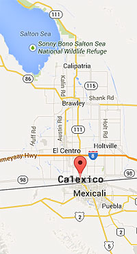 Map showing relative location of Calexico Land Point of Entry (border station)