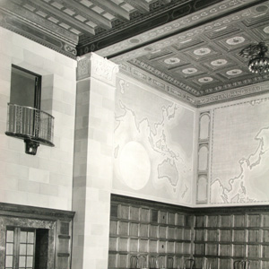 Hale's World Map Mural installed in the Department of Commerce auditorium
