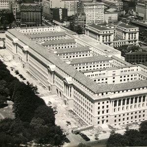 Aerial view of the Commerce building in 1931, just prior to its completion