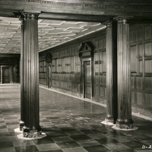 Interior view of the executive offices at the Commerce building during construction