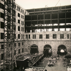 One of the building's six courtyards undergoing construction, 1930