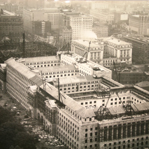 Aerial view of construction on the Commerce building, c. 1930