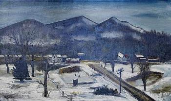Photograph of Winter Vista painting showing a farm beneath a mountain background nestled in snow