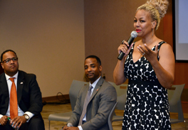 Actress Kim Fields (far right) addresses workshop with Cassius Butts (left) and Torre Jessup (center)