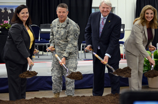 GSA, the Army, and Georgia Power broke ground on the Army's Georgia 3x30 solar park at Ft Benning in April.  Pictured (l to r): Assistant Secretary of the Army Katherine G. Hammack, U.S. Army Maneuver Center of Excellence Major General Scott Miller, GSA Acting Sustainability Chief Kevin Kampschroer, and Army Office of Energy Initiatives Executive Director Amanda Simpson.