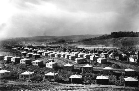 Temporary hutments housed thousands of construction workers in the valleys of Oak Ridge in 1945