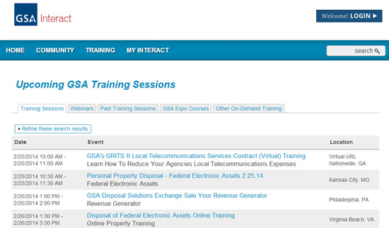 Upcoming Training Tab on the interact.gsa.gov website