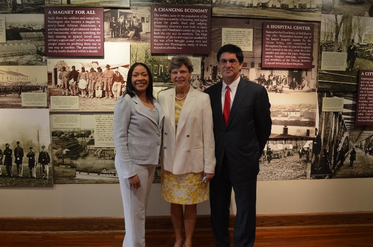 From l to r, NCR Regional Administrator Julia E. Hudson, Broadcast Journalist and Author Cookie Roberts, and PBS Deputy Commissioner Michael Gelber.