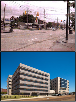 Split images of the Jackson, MS Courthouse before and after