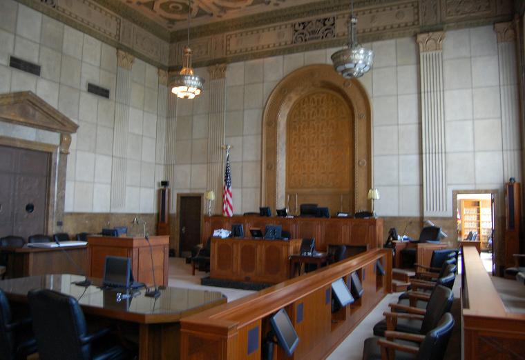Medium shot of a renovated Kinneary courtroom