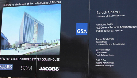 Construction project signage for the new Los Angeles United States Courthouse