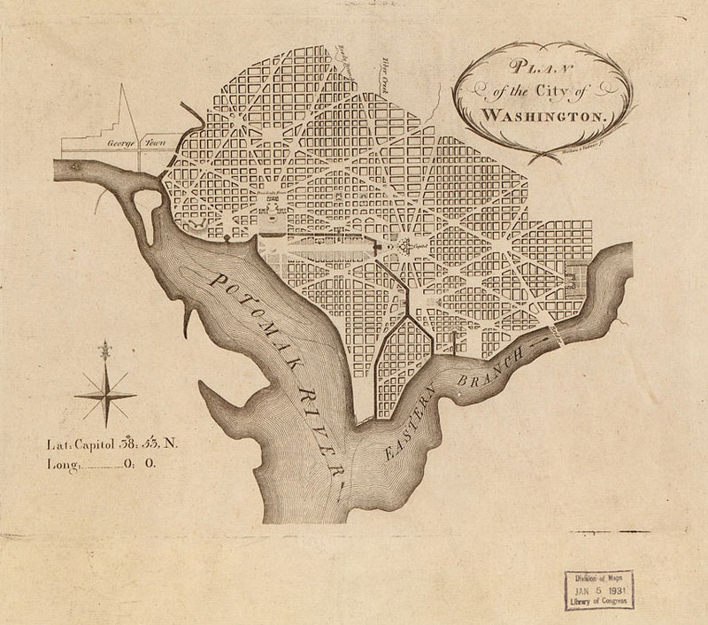 Map of Washington DC, as laid out by L'Enfant