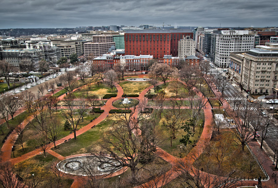 Aerial shot of Lafayette Park