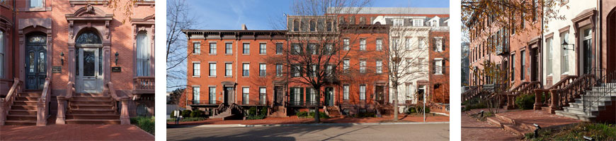 photos of row houses that make up Lafayette Square