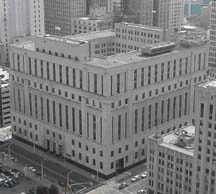 Aerial shot of the Levin U.S. Courthouse, Detroit